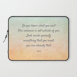 'Do You Know What You Are?' Inspiring Quote by Rumi Laptop Sleeve