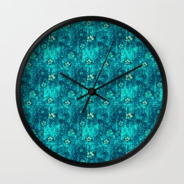 Teal Flowers Wall Clock