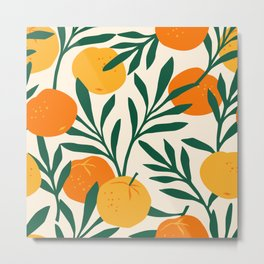 Vintage seamless pattern with mandarins. Trendy hand drawn textures. Modern abstract design Metal Print