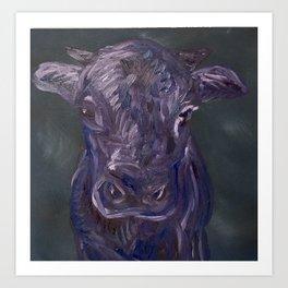 Purple Monochrome Cow Art Print