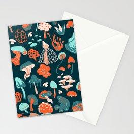 Mushroom Pattern (blue) Stationery Cards