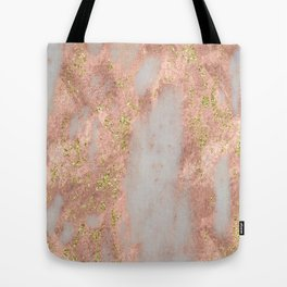 Rose Gold Marble with Yellow Gold Glitter Tote Bag