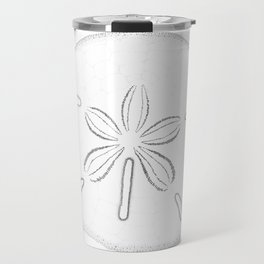 Sand Dollar Blessings - Black on White Pointilism Art Travel Mug