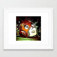 superhero Framed Art Prints featuring superhero by very giorgious