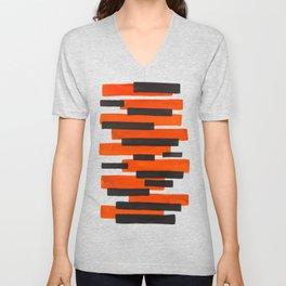 Orange Primitive Stripes Mid Century Modern Minimalist Watercolor Gouache Painting Colorful Stripes Unisex V-Neck