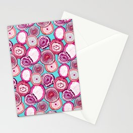 Agate slices Teal Stationery Cards