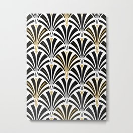 Art Deco Fan Pattern, Black and White Metal Print