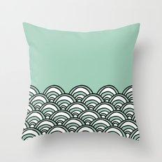 Waves Mint Throw Pillow