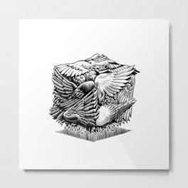 Pigeon Cube Metal Print