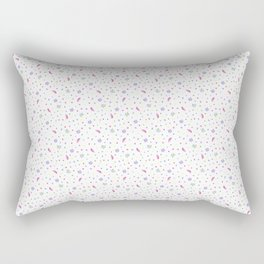 Tiny Florals and Doodles on White. Watercolor Flowers and Leaves Pattern Rectangular Pillow