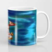 koi fish Mugs featuring KOI FISH by aztosaha