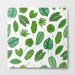 Tropical Palm Monstera Leaves Watercolor Pattern | Jungle Leaves | Tropical design Metal Print