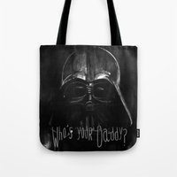 darth Tote Bags featuring Darth by Heather Engelberg