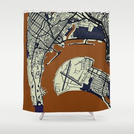 San Diego Street Map // Orange Theme Shower Curtain