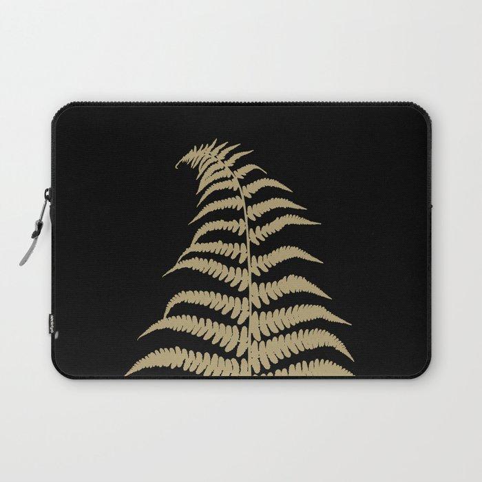 Fern Leaf Gold on Black #1 #ornamental #decor #art #society6 Laptop Sleeve