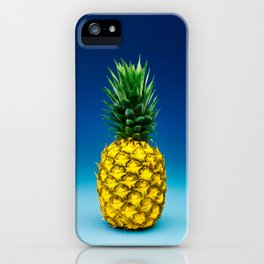 Hyperreal Pineapple Portrait on Blue iPhone Case