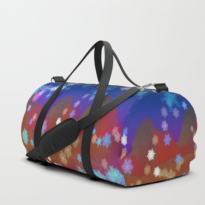 Mountains and Snowflakes Duffle Bag