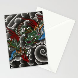 Japanese tattoo style dragon in sumi ink wash and watercolor Stationery Cards