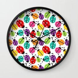 Lots of Crayon Colored Ladybugs Wall Clock