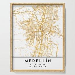 MEDELLÍN COLOMBIA CITY STREET MAP ART Serving Tray