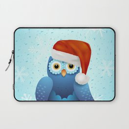 Merry Christmas with owl and Santa hat Laptop Sleeve