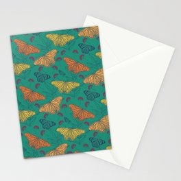 Teal Monarch Butterfly Pattern  Stationery Cards