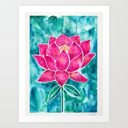 Sacred Lotus – Magenta Blossom with Turquoise Wash Art Print