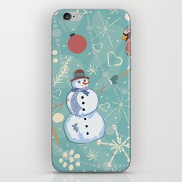 Seamless Winter Pattern with Christmas Ornaments iPhone Skin