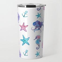 Watercolor Sea Life Travel Mug