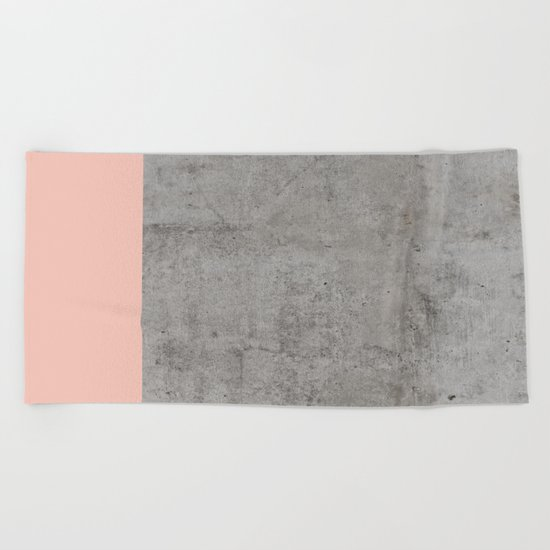 Pale Pink on Concrete Beach Towel