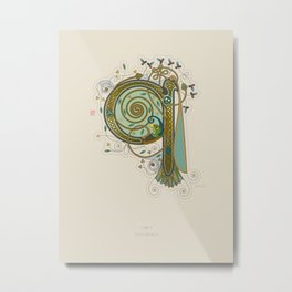 Celtic Initial Q Metal Print