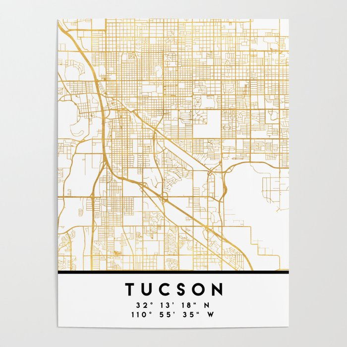 TUCSON ARIZONA CITY STREET MAP ART Poster by deificusart