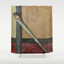 Artist Brush On Abstract Copper Canvas Artwork - Vintage - Modern Art - Corbin Henry Shower Curtain