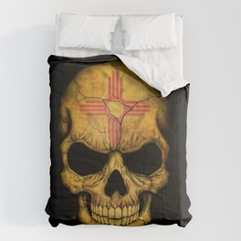 Dark Skull with Flag of New Mexico Comforters