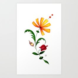 Fantastic multicolour flower with green leaves and stems, decorated with fruits on white background Art Print