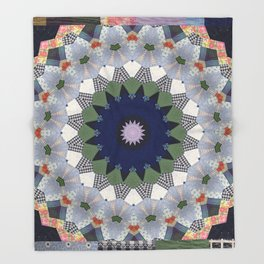 Patchwork Whimsy -- Vintage Block Quilt Mandala Kaleid0scope Throw Blanket