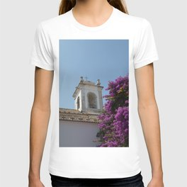 Blossoms On White Church - Portugal Vibes -  Pastel Color Travel Photography T-shirt