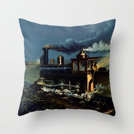 The Danger Signal: Train Scene, Currier & Ives Throw Pillow