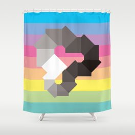 Square Spectrum (Grayscale) Shower Curtain