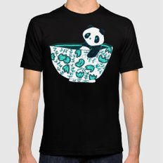 Dinnerware sets - panda in a bowl SMALL Mens Fitted Tee Black
