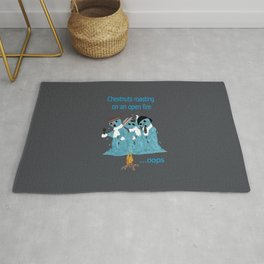 """Snowmen singing a holiday classic, """"Chestnuts Roasting on an open fire"""" Rug"""