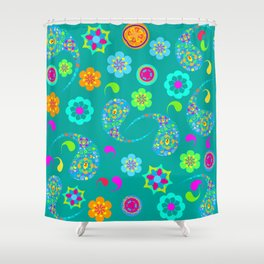 Green Paisley № 5 Shower Curtain