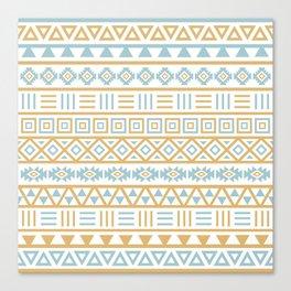 Aztec Influence Pattern Blue White Gold Canvas Print