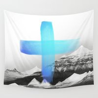 mountains Wall Tapestries featuring Mountains by Amy Hamilton