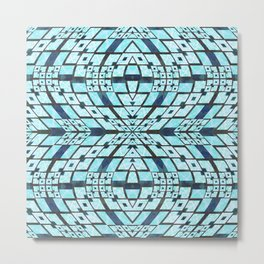 Three Dimensional Geometric Blue Patchwork Print Metal Print