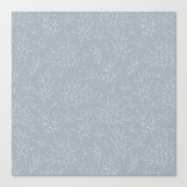 Blush blue white hand painted modern floral leaves pattern Canvas Print