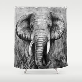 Charcoal Elephant Shower Curtain