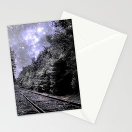 Train Tracks Next Stop Anywhere Periwinkle Gray Stationery Cards