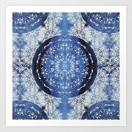 Boho Brocade Blue Mandalas Art Print