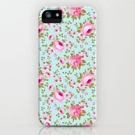 Modern neon pink teal roses hortensia floral iPhone Case